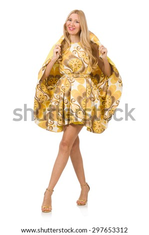 Lady in charming yellow dress isolated on white - stock photo