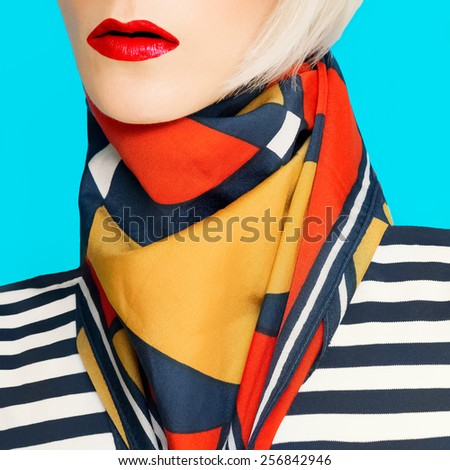 Lady in fashionable Summer accessory. Scarf with geometric pattern - stock photo