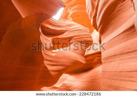 Lady in the Wind, Antelope Canyon, Page, Arizona, USA - stock photo