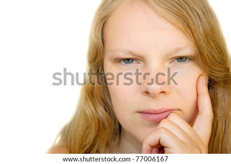 Lady is looking  contemplative - stock photo