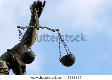 Lady Justice statue in Frankfurt. - stock photo