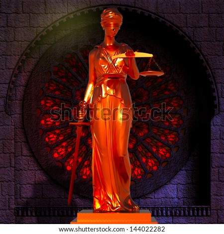 Lady of Justice  in court - stock photo