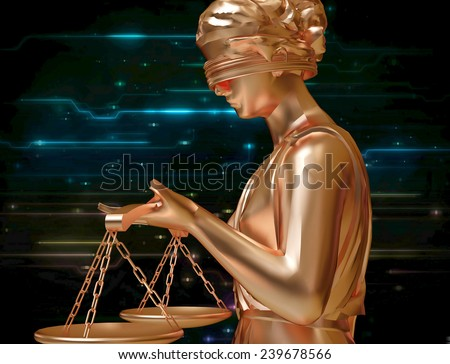Lady of justice standing against blue sky - stock photo