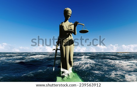 Lady of justice standing in ocean - stock photo
