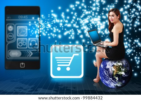 Lady on globe and Cart icon from mobile phone : Elements of this image furnished by NASA - stock photo