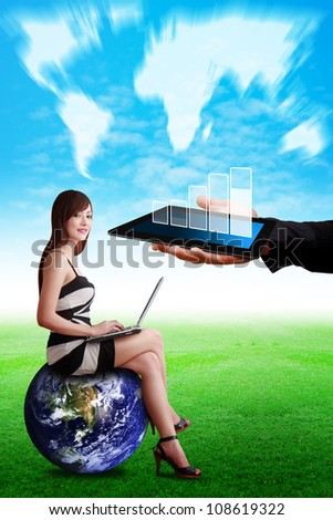Lady on globe and Data report on tablet : Elements of this image furnished by NASA - stock photo