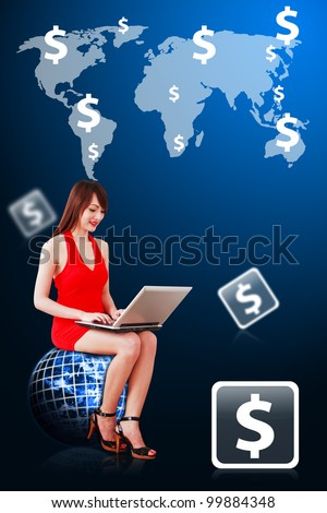 Lady on globe and Money profit on world map background : Elements of this image furnished by NASA