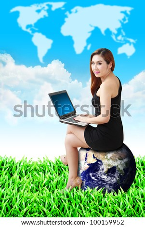 Lady on globe and world map on the sky : Elements of this image furnished by NASA