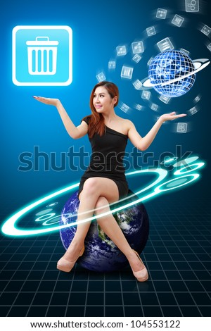 Lady on globe hold Bin icon from app world : Elements of this image furnished by NASA