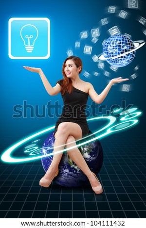 Lady on Globe hold Light Bulb icon from app world : Elements of this image furnished by NASA - stock photo