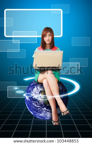 Lady on globe use notebook computer : Elements of this image furnished by NASA