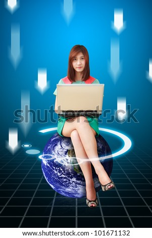Lady on the digital world and download background : Elements of this image furnished by NASA - stock photo