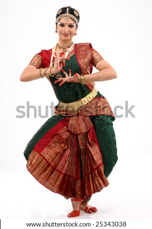 Lady performing bharatanatyam dance - stock photo