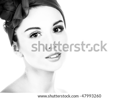 Lady portrait. B&W photography.  Isolated on white.