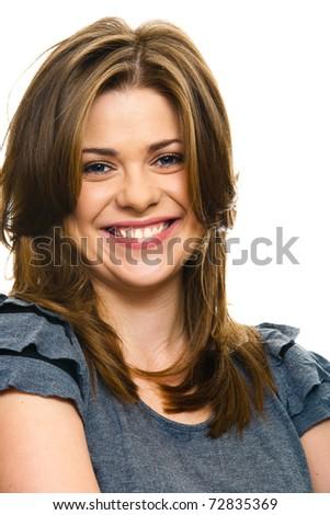 Lady portrait. Closeup. Isolated. - stock photo