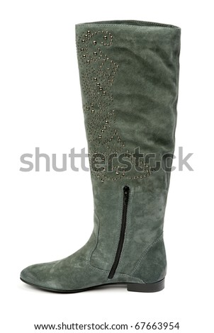 Lady's boot isolated on a  background