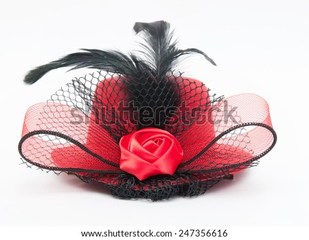 lady's hat on a white background - stock photo