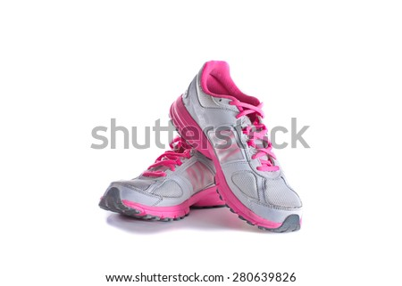 Lady's - women's running shoes - sneakers - trainers, in gray and pink - stock photo