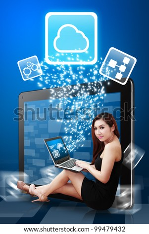 Lady use notebook computer and present the Cloud Computing icon from tablet PC