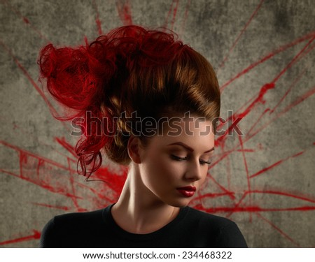 Lady with avant-garde hair and bright make-up on texture background - stock photo
