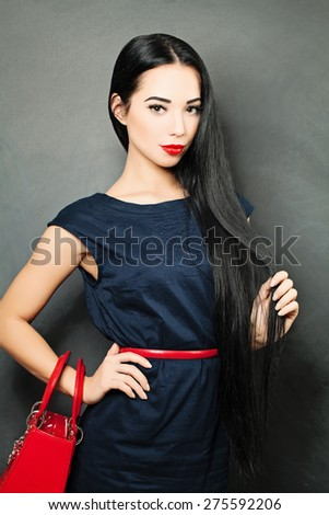 Lady with Long Shiny Healthy Hair - stock photo