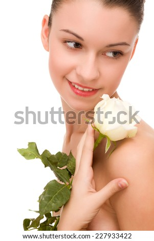 Lady with the rose and beautiful makeup. - stock photo