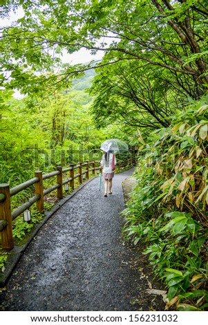 Lady with umbrella walk along the forest