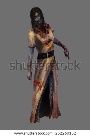 Lady zombie. Fantasy dead lady zombie in bloody yellow dress standing illustration art.