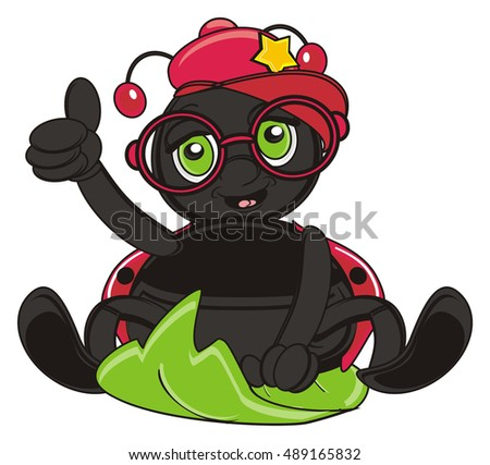 ladybug in stylish cap and red glasses show gesture cool and sit on the leaf