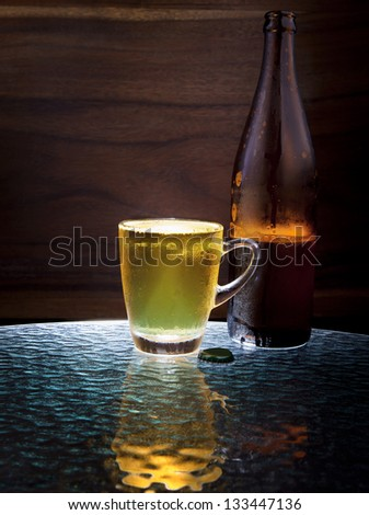 lager beer in glass use for alcohol beverage theme - stock photo