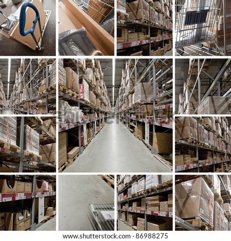 Lagerhalle Versand Collage - stock photo