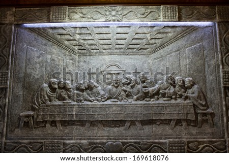 LAGIEWNIKI, KRAKOW, POLAND- DECEMBER 28, 2013: The Centre of Pope John Paul II. Unique reliefs from salt in the chapel St Kingas - the last Supper