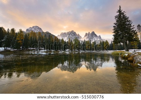 Lago d'Antorno at sunrise, the Dolomites, Italy