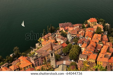 Lago di Como coastline town, aerial view. - stock photo