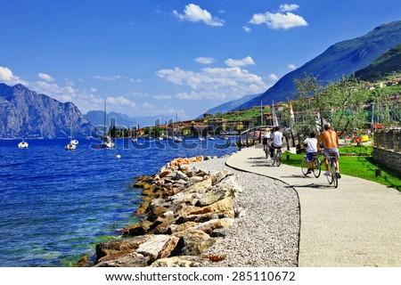 Lago di Garda activities .beautiful lake in north of Italy . Malcesine - stock photo