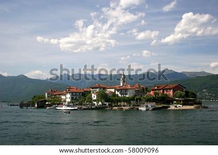 Lago Maggiore and Isola Superiore (dei Pescatori), Italian Alps - stock photo
