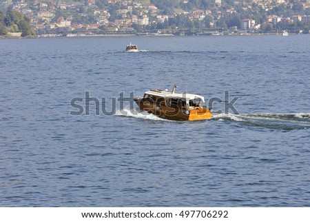 LAGO MAGGIORE, ITALY - SEPTEMBER 25: Connection with and between Borromees islands on the lake cater to these speedboats in Lago Maggiore, Italy on September 25, 2016