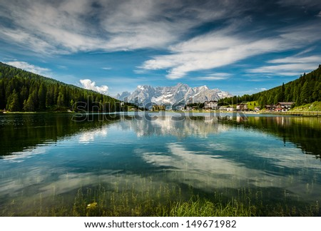 Lago Misurina, Misurina lake at summer in Dolomite Alps, Italy, Europe .Dolomites are on UNESCO World Heritage List. - stock photo