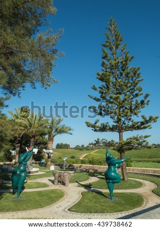LAGOA, PORTUGAL  - MAY 19 : A view of viticulture Quinta dos Vales near city Lagoa on the coast Algarve. The builder of these statues is Karl Heinz Stock in Portugal, 2016. - stock photo