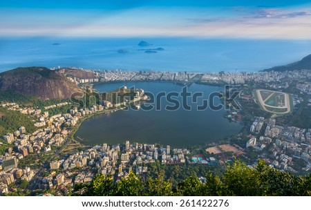 Lagoa Rodrigo de Freitas, Ipanema, Leblon in Rio de Janeiro. Brazil - stock photo
