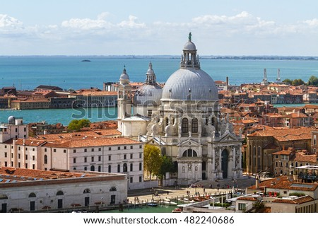 Lagoon and Santa Maria della Salute church in Venice (Italy). A view from above.
