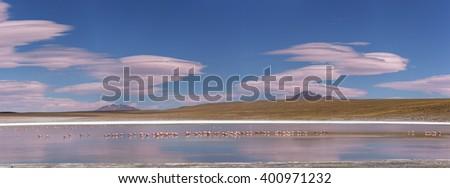 Lagoon Desert panorama, Altiplano, Bolivia - stock photo