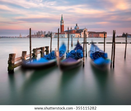 Lagoon, Gondolas and San Giorgio Maggiore Church in Venice, Italy - stock photo