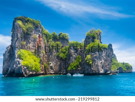 Lagoon Mountains Blue Seascape  - stock photo