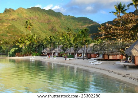 Lagoon Shoreline, Island of Moorea, French Polynesia - stock photo