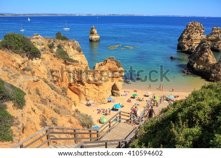 LAGOS, ALGARVE, PORTUGAL â?? CIRCA SEPTEMBER, 2015: Beach of Lagos in Algarve, Portugal - stock photo