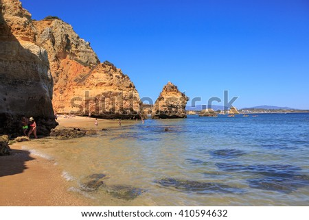LAGOS, ALGARVE, PORTUGAL -?? CIRCA SEPTEMBER  2015: Beach of Lagos in Algarve, Portugal - stock photo