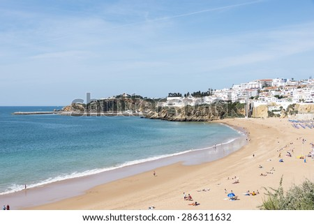 LAGOS,PORTUGAL-APRIL 23, 2015: People relax on the beach during summer,on April 23 2015, Lagos has the most beautifull coast of southern europe
