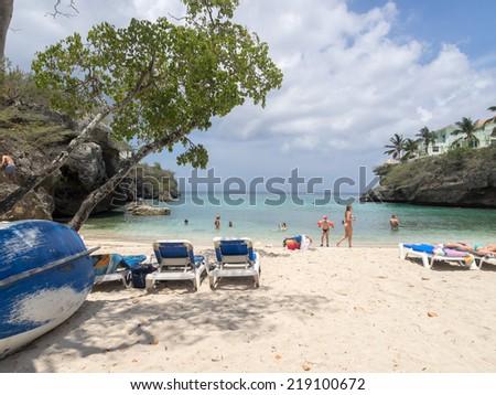 Lagun Beach on Curacao a Caribbean Island in the Dutch Antilles - stock photo