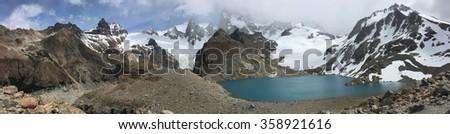Laguna de los Tres and mountains in Argentina - stock photo